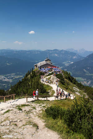 adolf: The Kehlsteinhaus also known as the Eagles Nest on top of the Kehlstein at 1.834m is the formerly Hitlers home and southern headquarters, the Eagles Nest is located close to Berchtesgaden Stock Photo