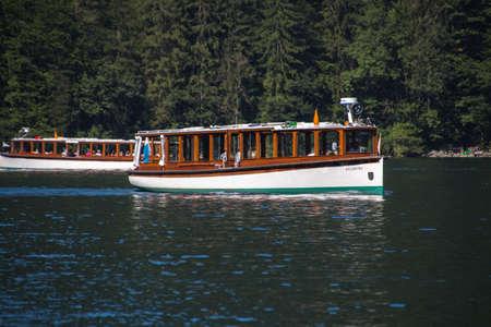 pleasure: Electric pleasure boats operating on the Koenigssee lake and commute between Schoenau, St. Bartholomew and Salet