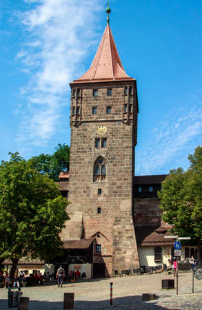 flagging: The Nuremberg Castle Nuremberg Castle is one of the main sights of the city, the castle and its historical buildings are located on a sandstone rock in the north of Nuremberg Editorial