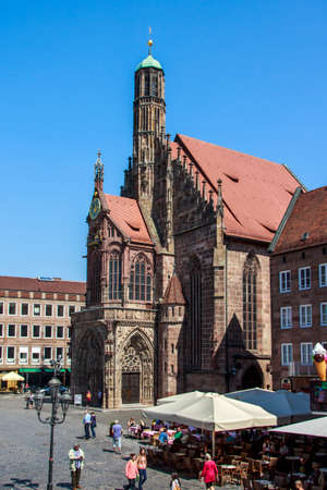 main market: The Frauenkirche Church of Our Lady is a church in Nuremberg and is located on the eastern side of the Main Market