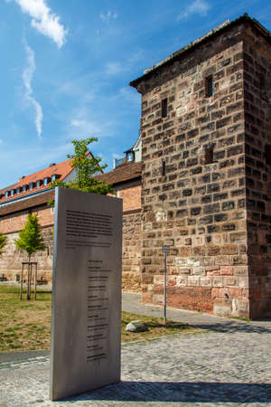 flagging: The city walls of the old town of Nuremberg in the Southern Area Frauentormauer Along the Frauentorgraben