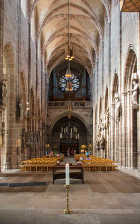 laurence: Inside the St. Lorenz Church with the altar and beautiful windows