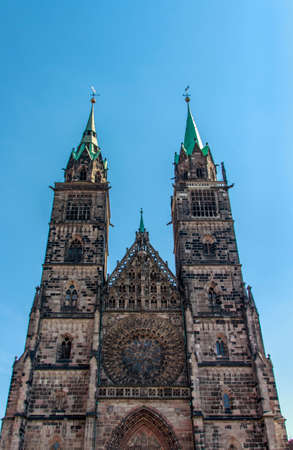 laurence: Facade of the St. Lorenz Church, which was built in a gothic stlye and is now one of the most important buildings in Nuremberg Stock Photo