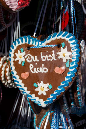 endearing: Gingerbread hearts labeled with You are so endearing are sold on the Theresienwiese during Oktoberfest and Spring Festival