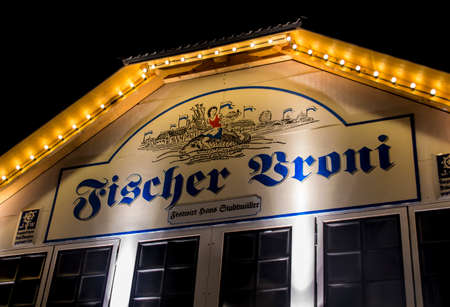 nightshot: Nightshot of the Fischer Vroni tent on the Theresienwiese during Oktoberfest Editorial