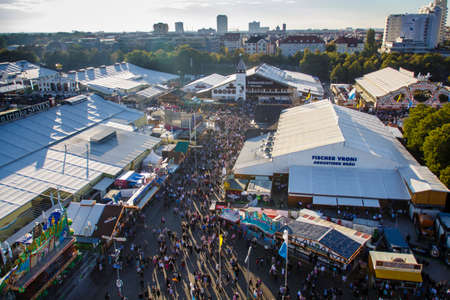 wiesn: Aerial view on the Oktoberfest on Theresienwiese in Munich