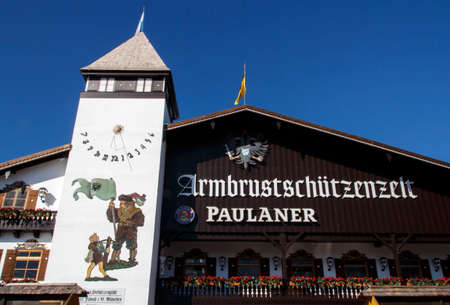 marksman: Facade of the Armbrustschuetzenzelt with the balcony and beautiful paintings Editorial