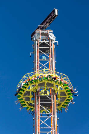 wiesn: Free fall tower at Oktoberfest with 80 meter height