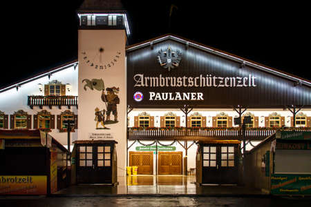 marksman: Nightshot of the Armbrustschuetzenzelt on Theresienwiese during Oktoberfest