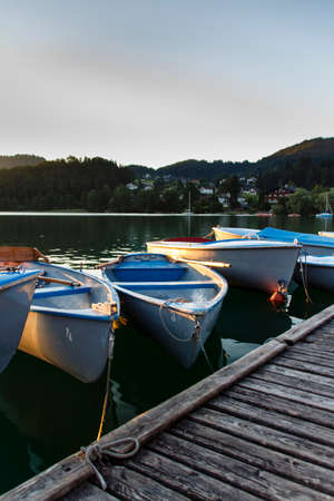 landing stage: The Fuschlsee during summer season with its landing stage full of boats