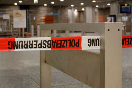 blocking: The metro station at Karlsplatz (Stachus) in Munich was closed due to an unknown reason and barrier tape of the police is blocking the entrance