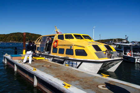 tenders: Ships tender boat of AIDA Dive cruise ship in the bay of Bar Harbor at the landing stage Editorial