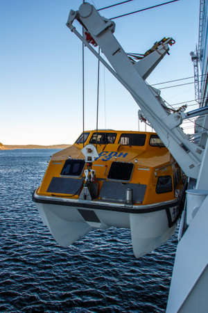hooked up: Hooked up ships tender boat of AIDA Dive cruise ship in the bay of Bar Harbor