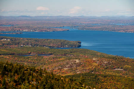 The natural beauty of the Acadia National Park in Bar Harbor (Maine, USA) from the Cadillac Mountain during the indian summer with changing foliage of fall Stock Photo