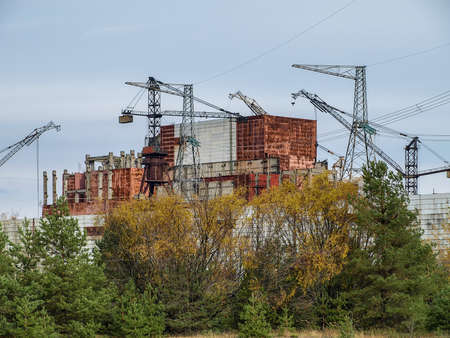exclusion: Chernobyl nuclear power station with damaged reactor block 4 in the exclusion zone