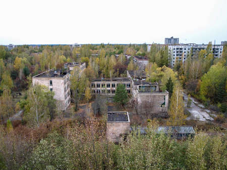 exclusion: The ghost town Pripyat in the Chernobyl Exclusion Zone which was established after the nuclear disaster in 1986 Stock Photo