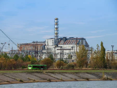 Chernobyl nuclear power station with damaged reactor block 4 in the exclusion zone