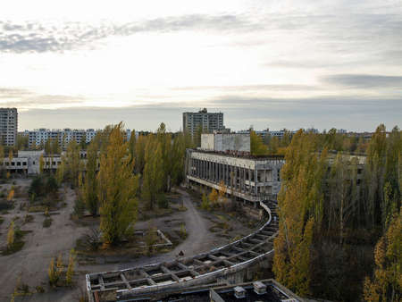 exclusion: Main square of the ghost town Pripyat in the Chernobyl Exclusion Zone which was established after the nuclear disaster in 1986