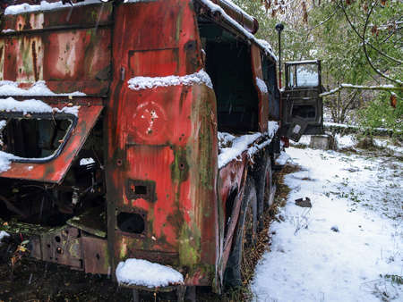 fire brigade: Old vehicle of the fire brigade in the Chernobyl Exclusion Zone that was disposed after the nuclear disaster