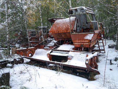 disposed: Old harvester in the Chernobyl Exclusion Zone that was disposed after the nuclear disaster