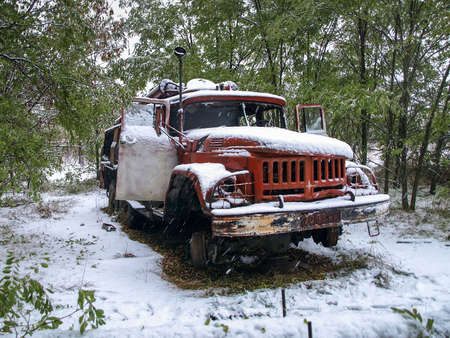 disposed: Old vehicle of the fire brigade in the Chernobyl Exclusion Zone that was disposed after the nuclear disaster