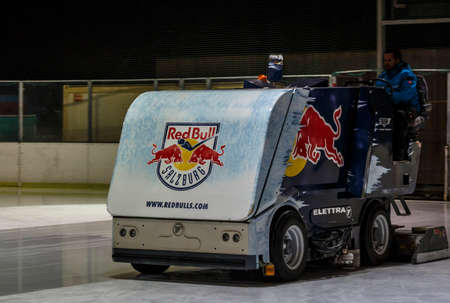 resurfacing: The machine for resurfacing ice in the outer practicing area of the Salzburg stadium of Red Bull