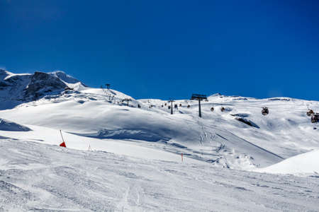 steep: Ski region of the Hintertuxer Glacier (Tuxer Ferner) with a beautiful landscape and steep ski slopes in Tyrol, Austria