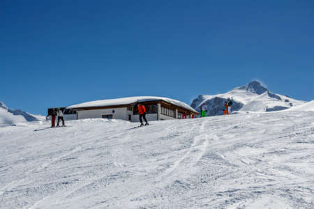 Ski region of the Hintertuxer Glacier (Tuxer Ferner) with a beautiful landscape and steep ski slopes in Tyrol, Austria