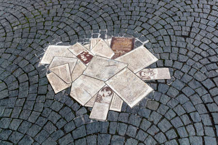 regime: White Rose memorial with leaflets in front of the main building of the Ludwig Maximilians University in Munich to remember the student group White Rose that formed an active opposition against the Nazi regime Editorial