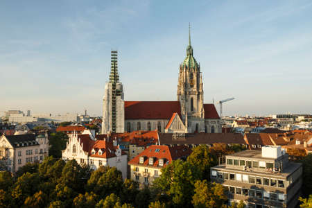 restauration: Church of St. Paul in Munich with the 97 meter tower Stock Photo