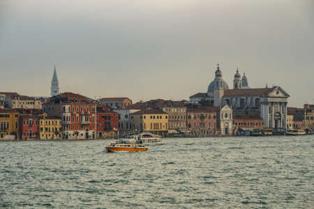 View on Venice with the St. Mary of the Rosary (Santa Maria del Rosario) church on the right side 写真素材
