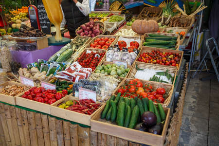 Sales stall with fresh fruits and vegetables at Viktualienmarkt in Munich, the Viktualienmarkt is a typical farmer's market