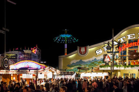 Munich, Germany - September 26, 2015: Nightshot of the Ochsenbraterei tent on Theresienwiese during Oktoberfest Editorial
