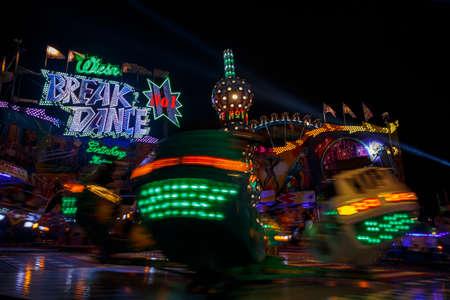 Munich, Germany - September 26, 2015: Nightshot of the carousel