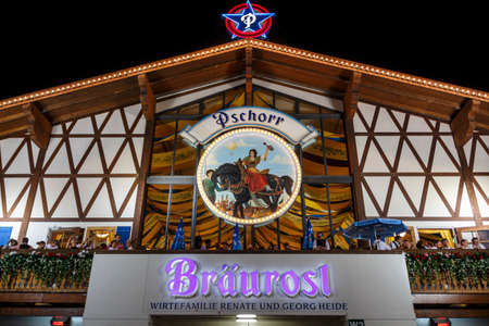 Munich, Germany - September 26, 2015: Nightshot of the Braeurosl tent on Theresienwiese Editorial