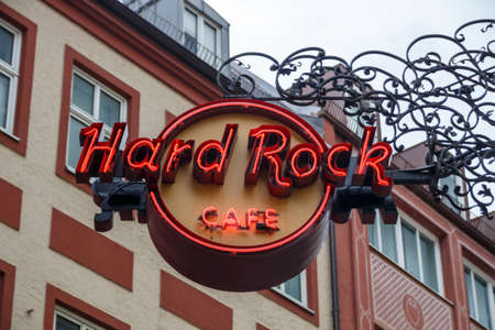 Munich, Germany - September 26, 2015: Sign of the Hard Rock Cafe in Munich, the logo stands for the music memorabilia of the rock and roll age Editorial