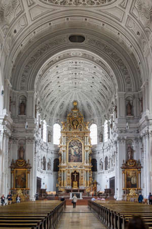 Munich, Germany - September 26, 2015: The St. Michael Kirche (St. Michael Church) was built in 400 years ago and is a historical building in the inner city of Munich