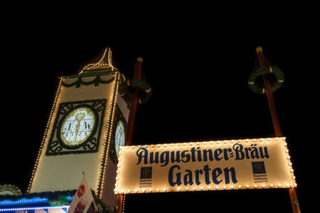 Munich, Germany - September 26, 2015: Nightshot of the Augustiner tent on Theresienwiese with the famous tower