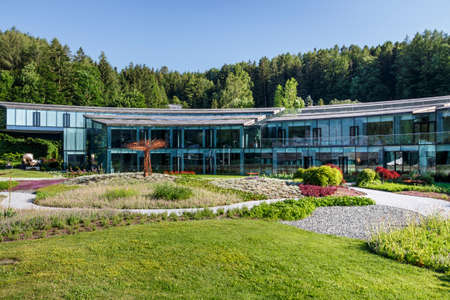 Fuschl am See, Austria - June 24, 2019: Red Bull Headquarters in Fuschl am See with a beautiful surounding