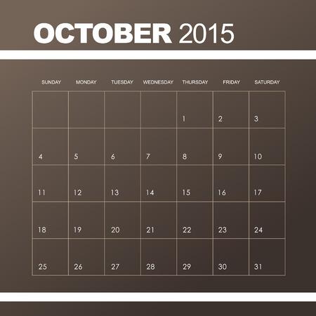 październik: Szablon do kalendarza października 2015 r Ilustracja