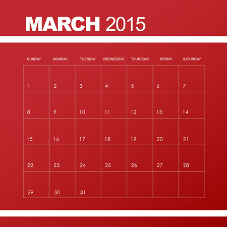 Template Of Calendar For March 2015 Royalty Free Cliparts Vectors