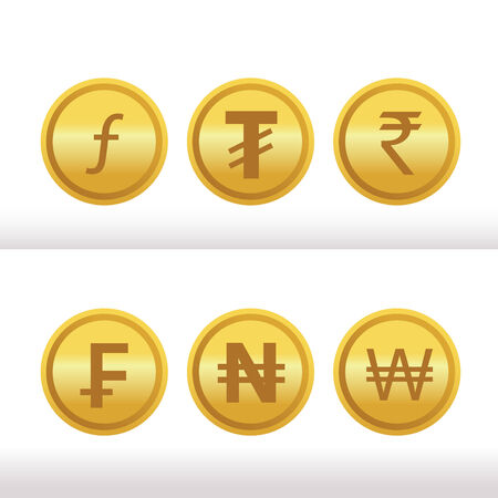 Set of foreign gold coins Vector