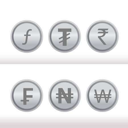 Set of foreign silver coins Vector