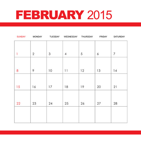 Template Of Calendar For February 2015 Royalty Free Cliparts