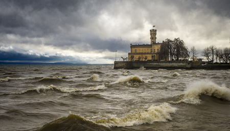 Castle Schloss Montfort during a winter gale
