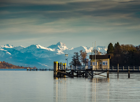 Mountain view over lake constance