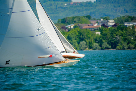 30 sqm racing boats off Friedrichshafen on a bright and quite windy day Stock Photo
