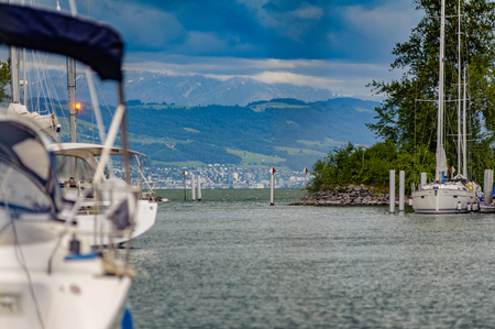 A view through the exit of a port at lake constance