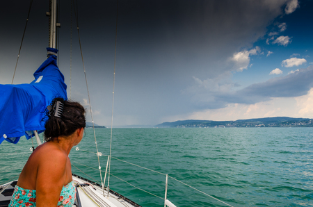 Dark clouds coming up at lake constance