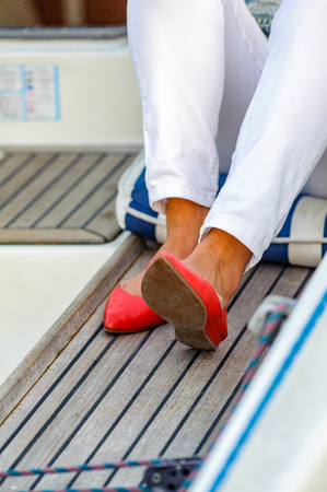 red pumps on a sailboat 写真素材